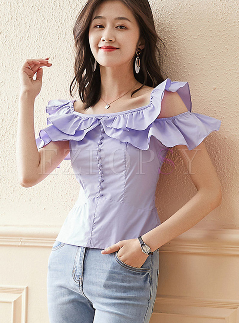 Square Neck Openwork Shoulder Ruffle T-shirt