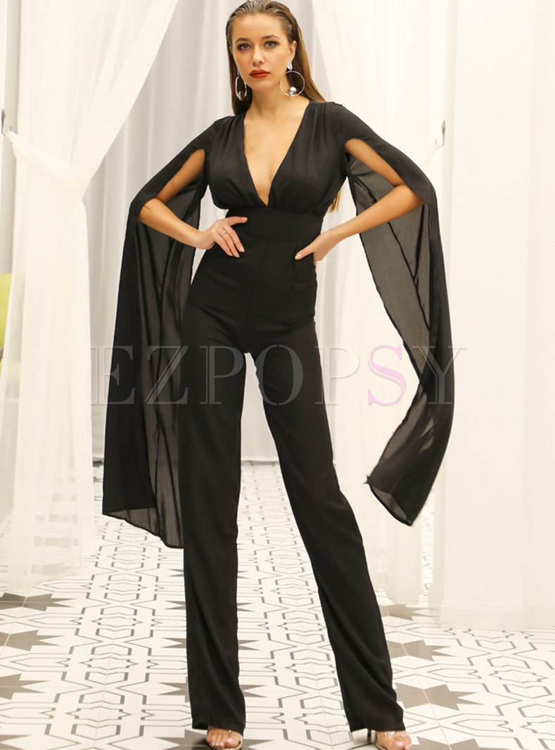 Black Shawl Sleeve Backless Chiffon Jumpsuis