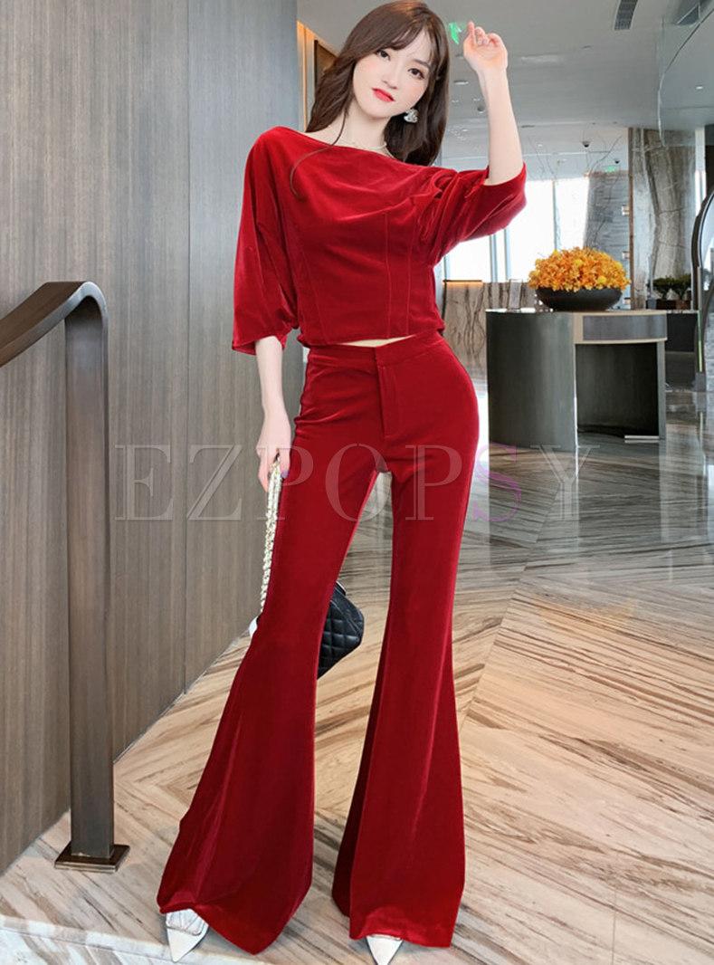 Velvet Pullover Blouse & High Waisted Flare Pants
