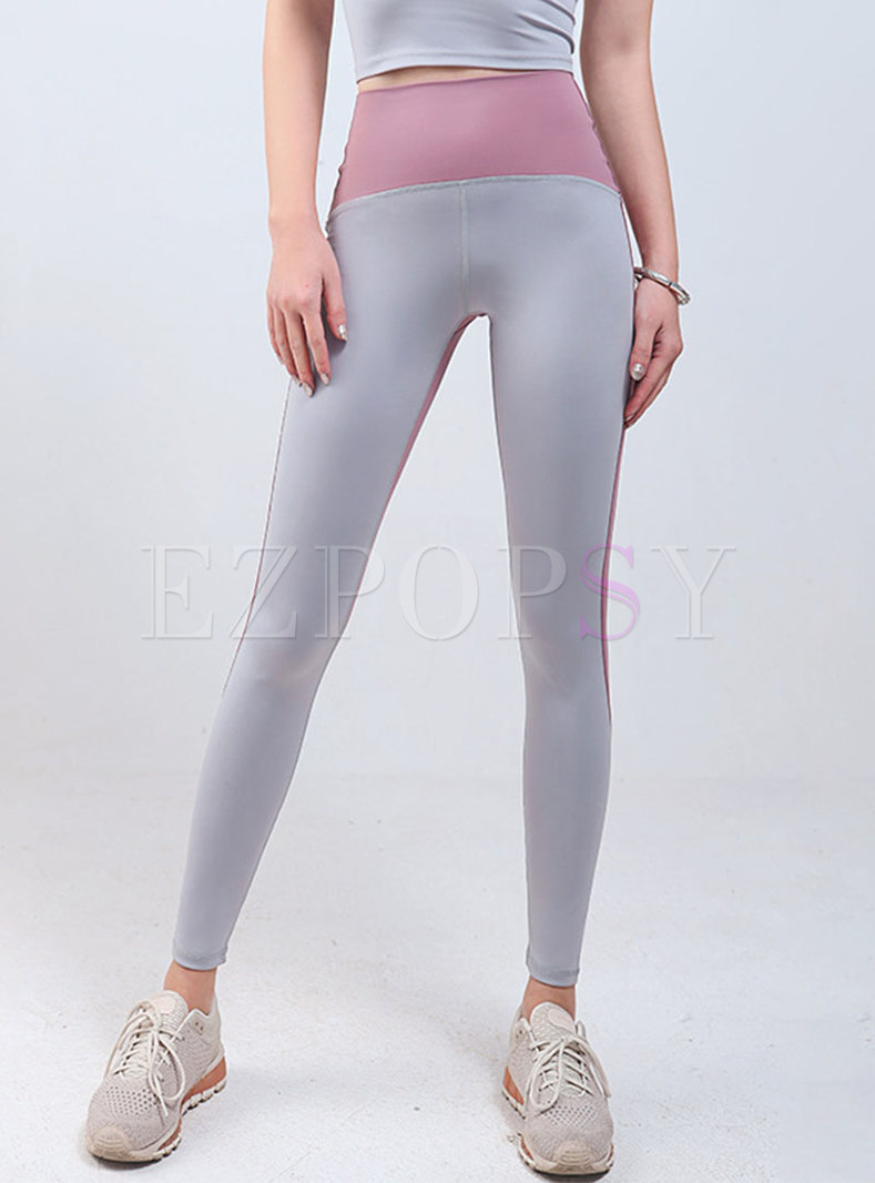Color-blocked Breathable Tight Yoga Pants
