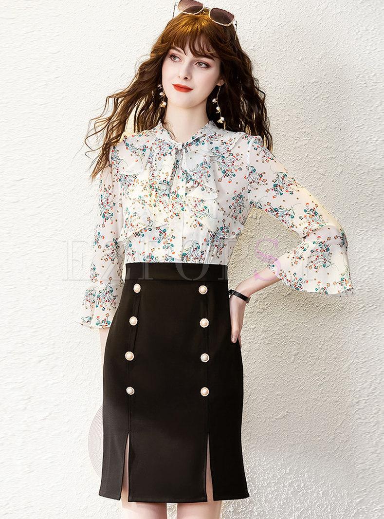 Flare Sleeve Print Patchwork Split Bodycon Dress