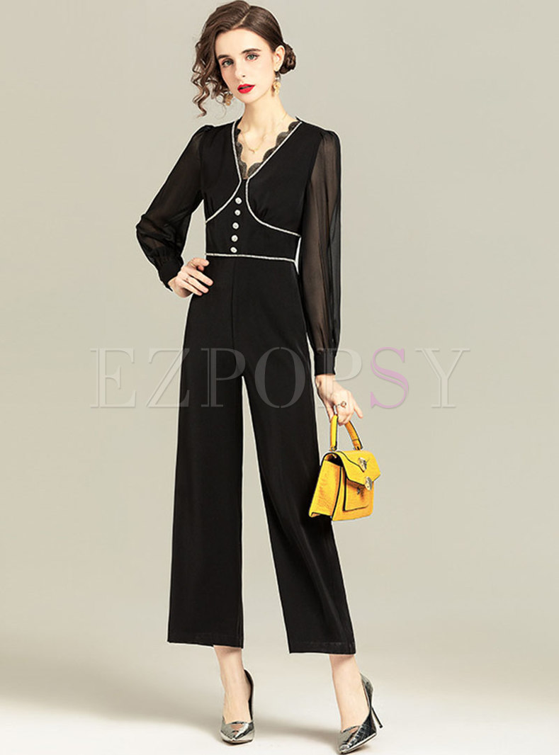 Black V-neck High Waisted Straight Jumpsuits