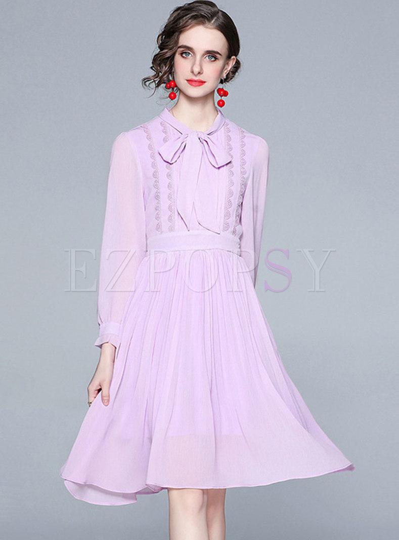 Long Sleeve Bowknot Ribbon Chiffon Pleated A Line Dress