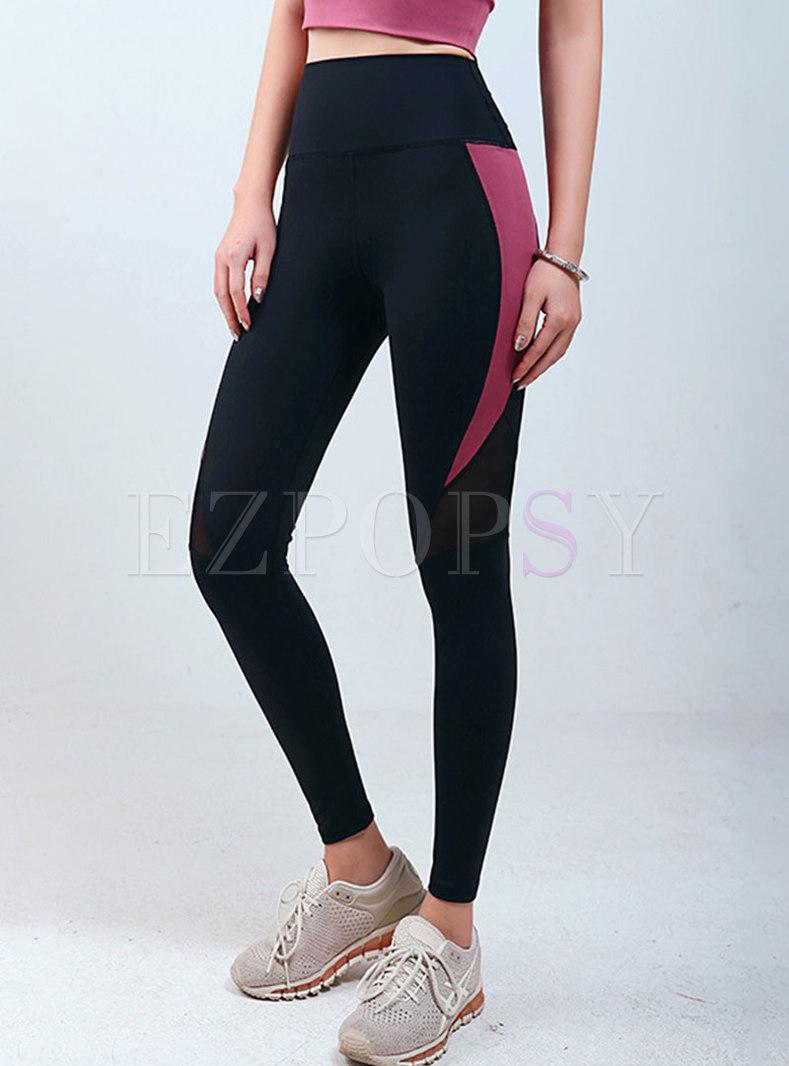 High Waisted Color-block Breathable Yoga Pants