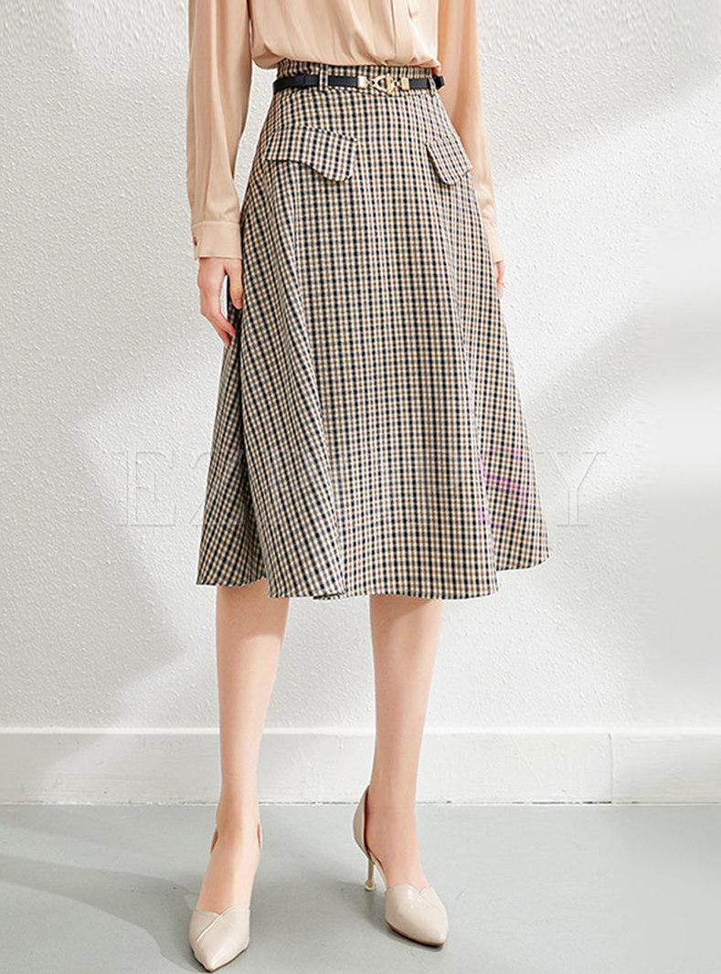 High Waisted Plaid A Line Skirt