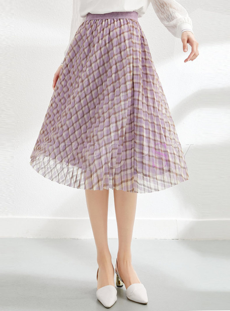 High Waisted Plaid Mesh A Line Skirt