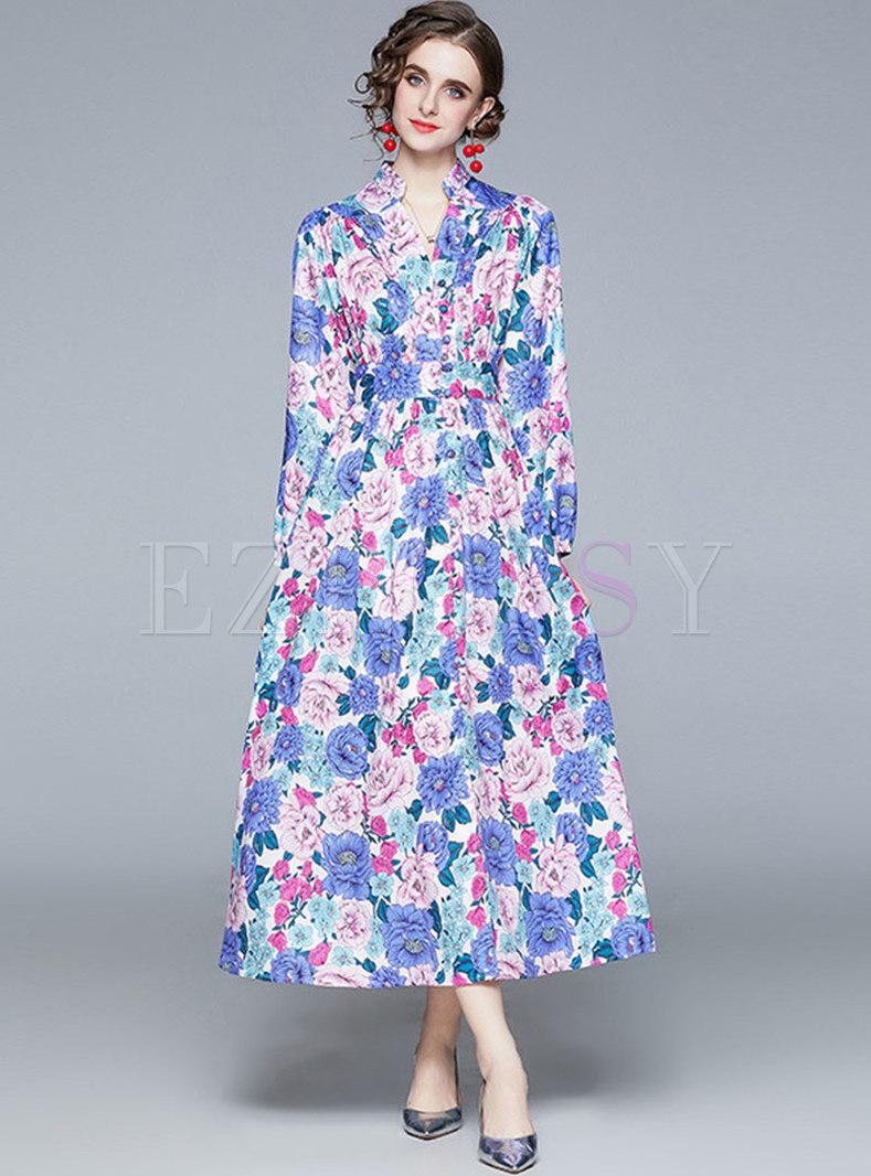 Boho V-neck Raglan Sleeve Print Maxi Dress