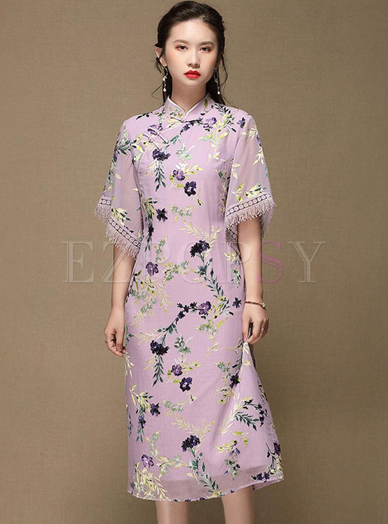 Mandarin Collar Embroidered Fringe Cheongsam Dress