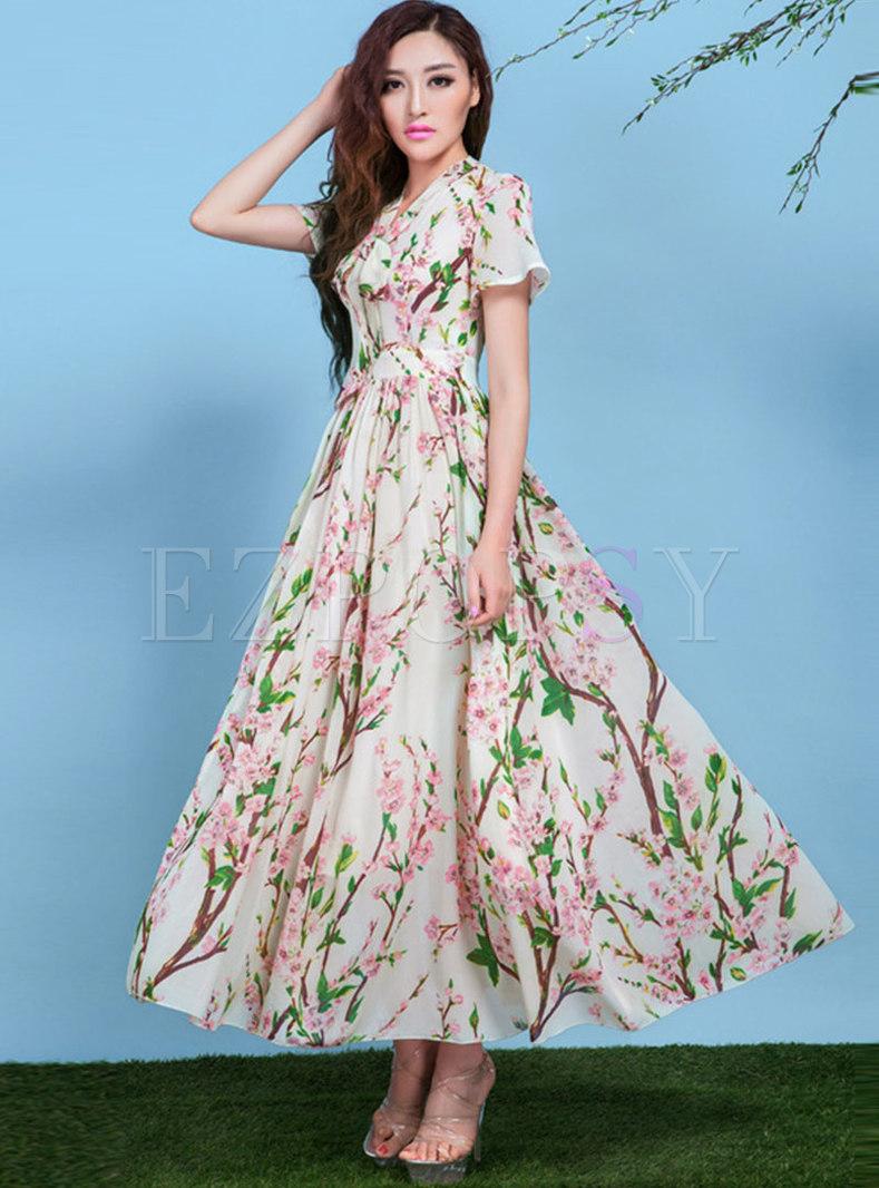 Boho Bowknot Ribbon Print Big Hem Maxi Dress