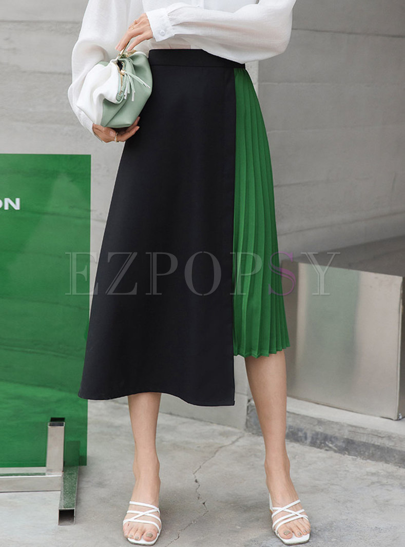 High Waisted A Line Color Block Pleated Skirt
