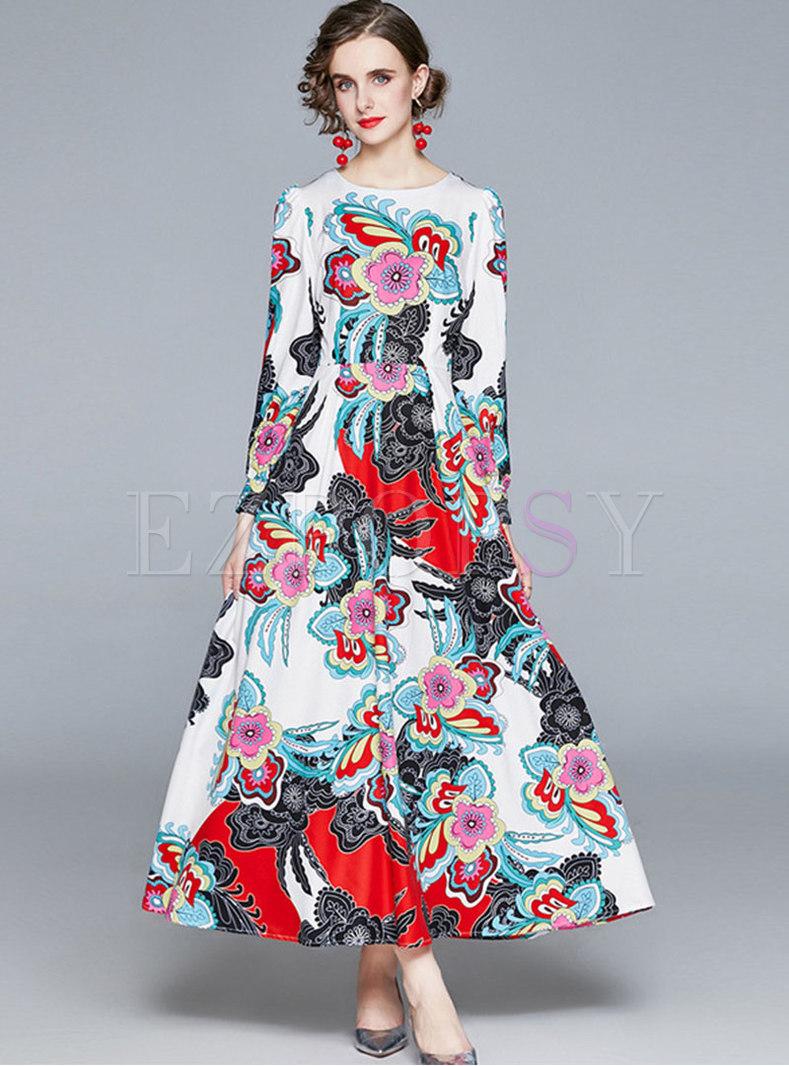 Crew Neck Floral A Line Big Hem Maxi Dress