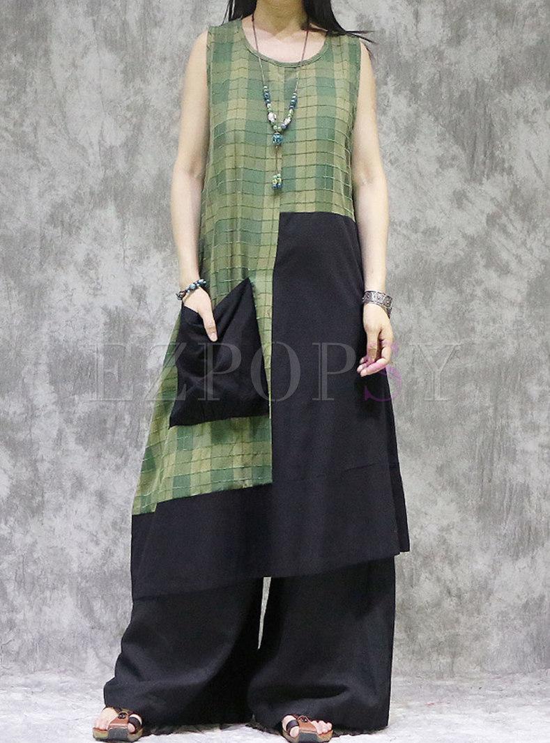 Plus Size Sleeveless Plaid Patchwork Shift Dress