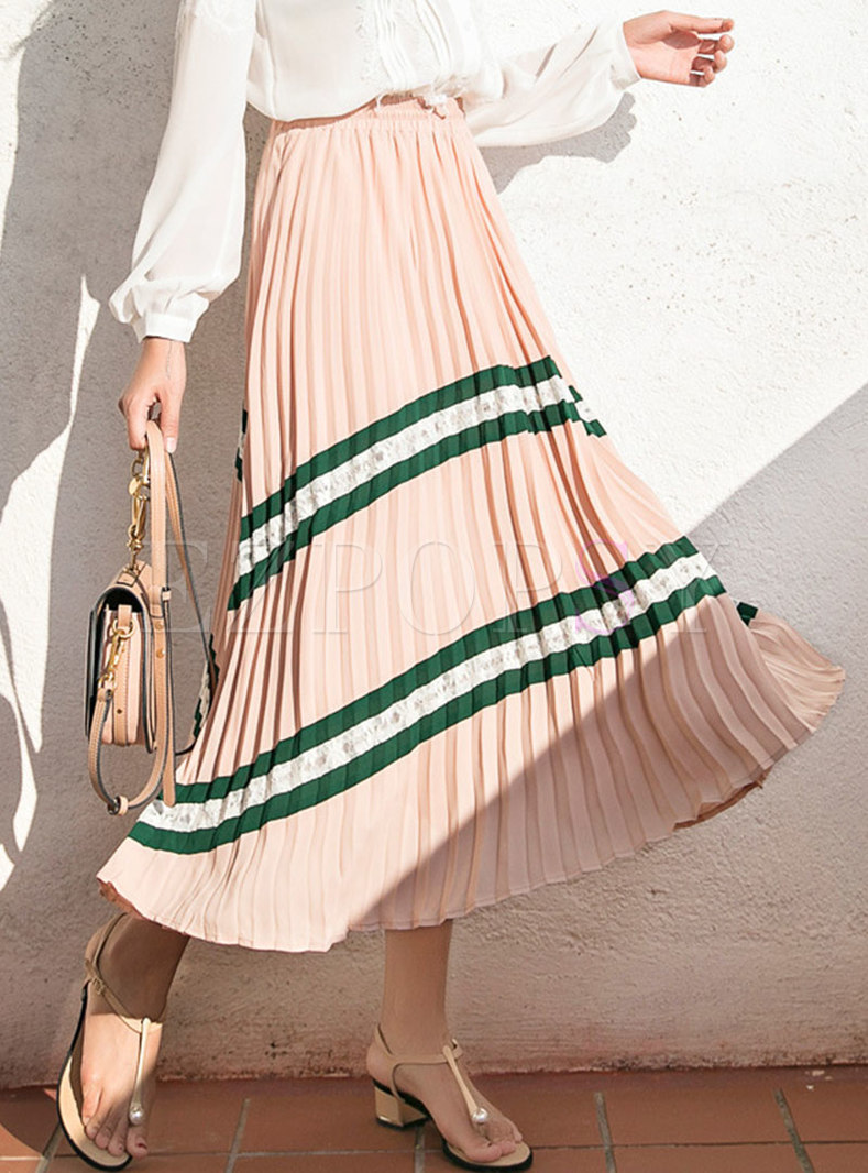 High Waisted Striped Pleated Long Skirt