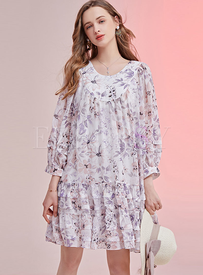 Print Long Sleeve Shift Mini Tiered Dress