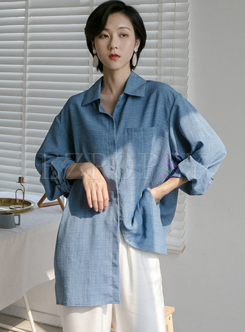 Casual Turn-down Collar Single-breasted Blouse