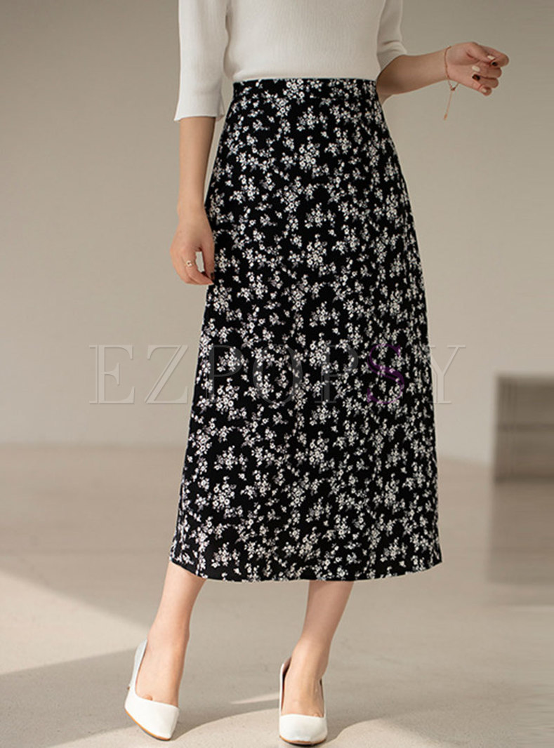 High Waisted Print Chiffon Pleated Maxi Skirt