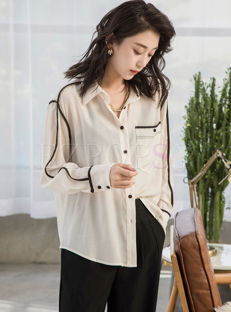 Turn-down Collar Color Blocked Blouse