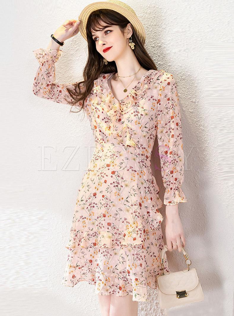 V-neck Long Sleeve Ruffle Print A Line Mini Dress