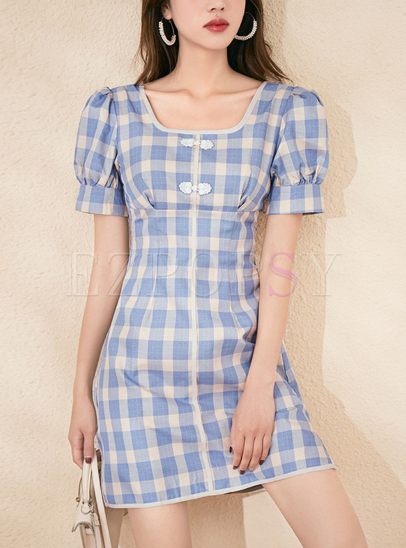 Retro Short Sleeve Plaid A Line Mini Dress