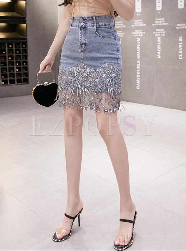 High Waisted Sequin Patchwork Denim Skirt