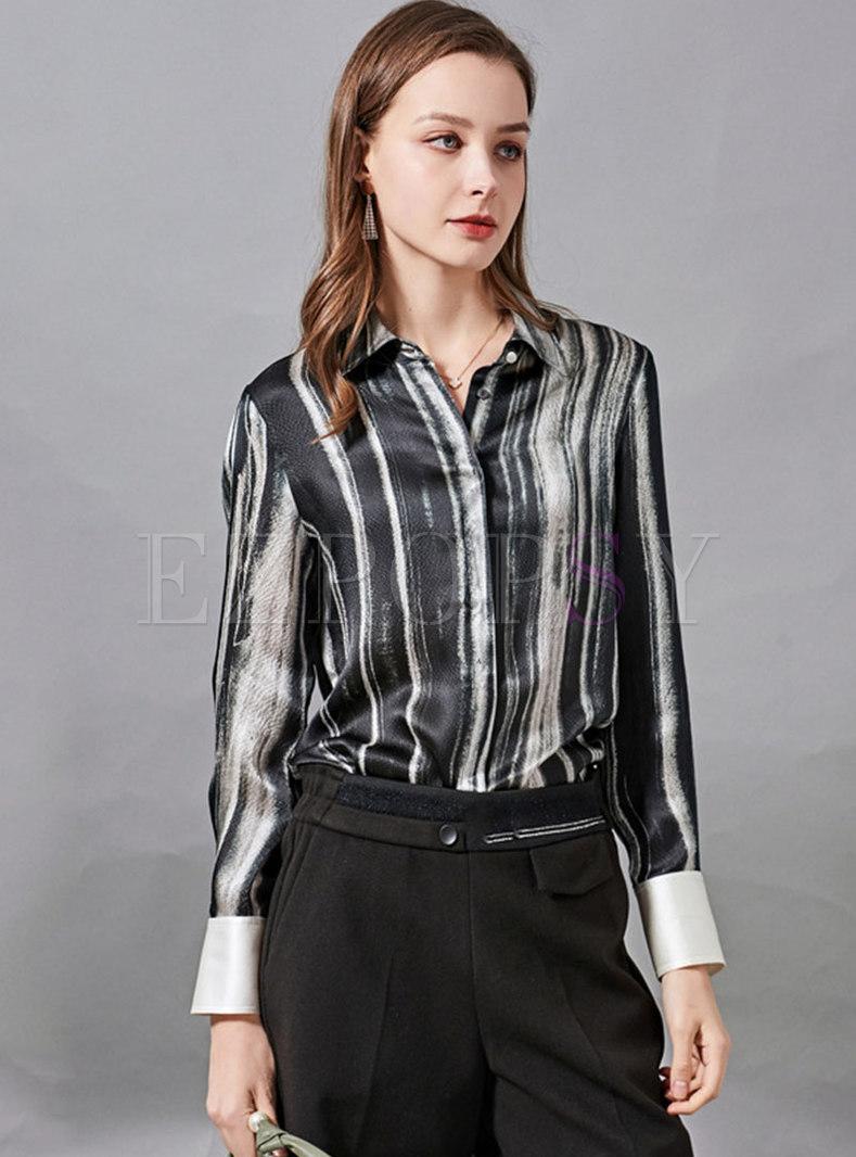 Turn-down Collar Striped Silk Blouse