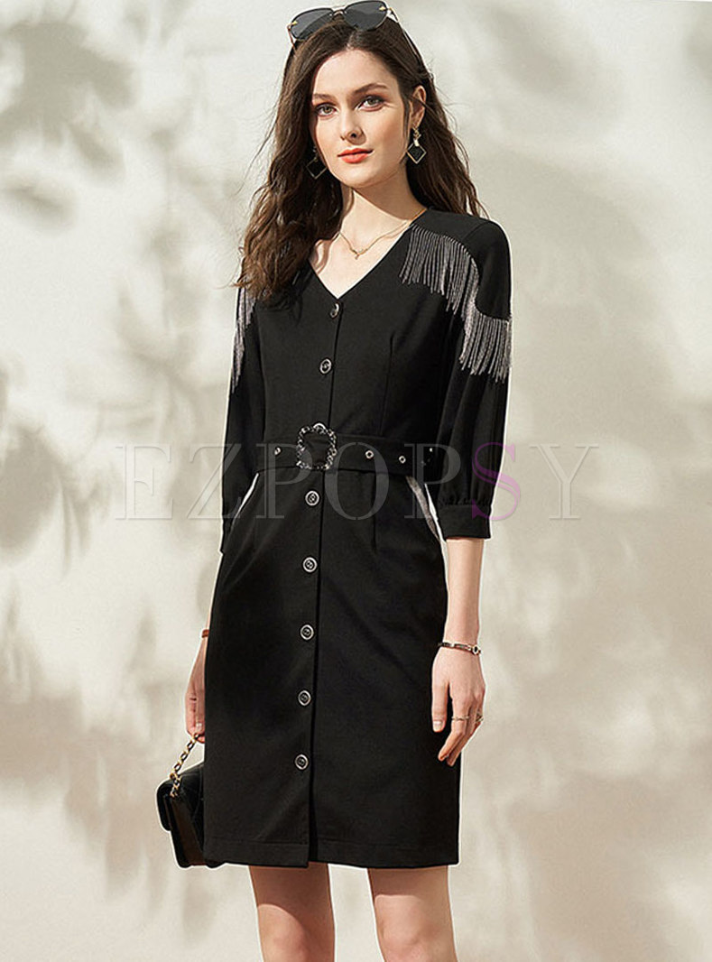 Black V-neck Fringe Belted Bodycon Dress