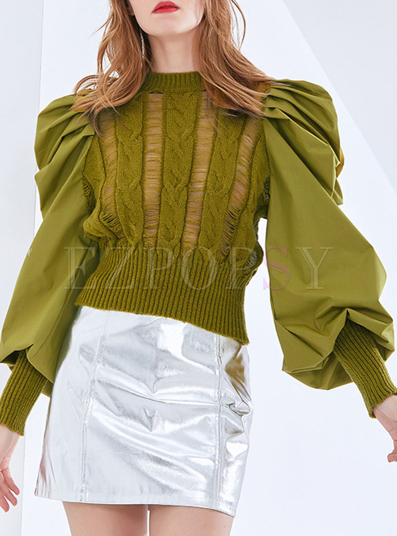 Openwork Knitted Patchwork Lantern Sleeve Blouse