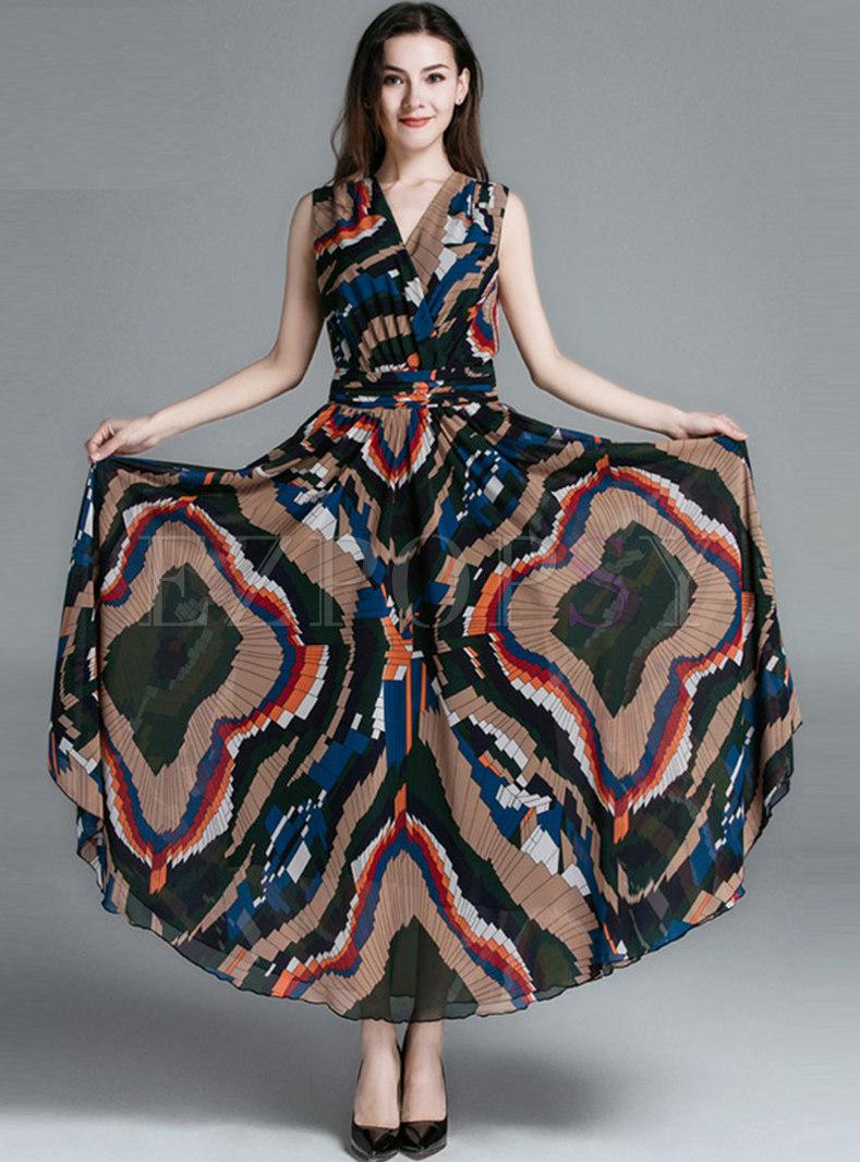 Boho V-neck Sleeveless Geometric Print Beach Maxi Dress