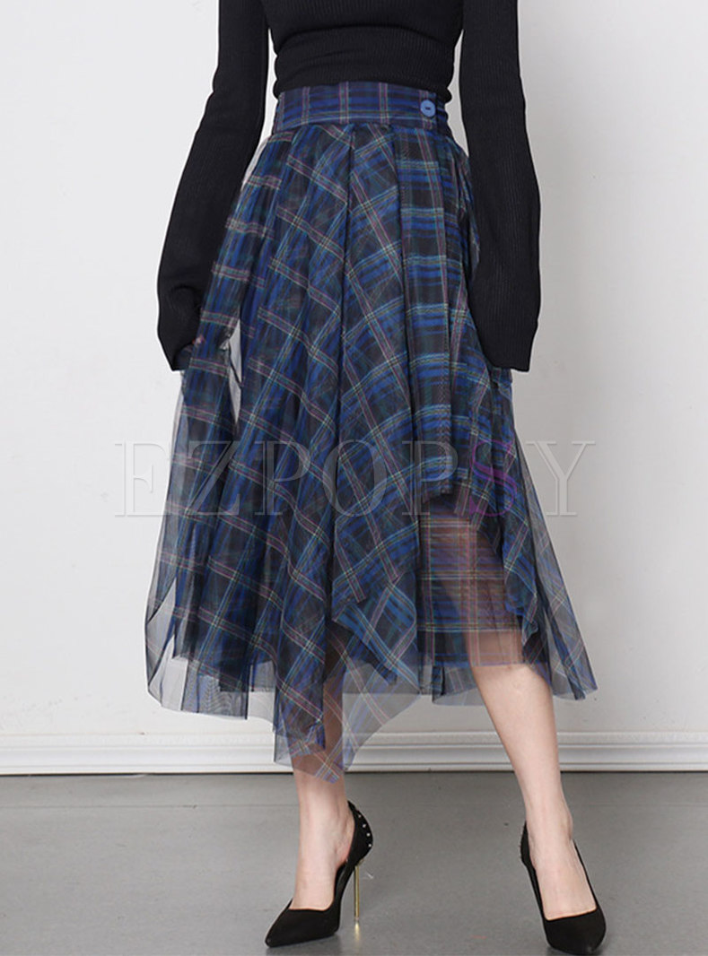 High Waisted A Line Plaid Mesh Maxi Skirt