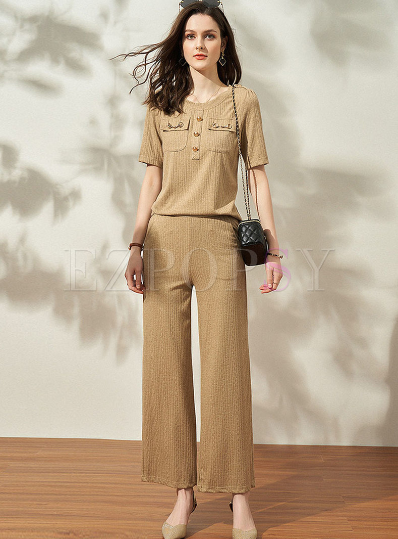 Casual Pullover High Waisted Straight Pant Suits