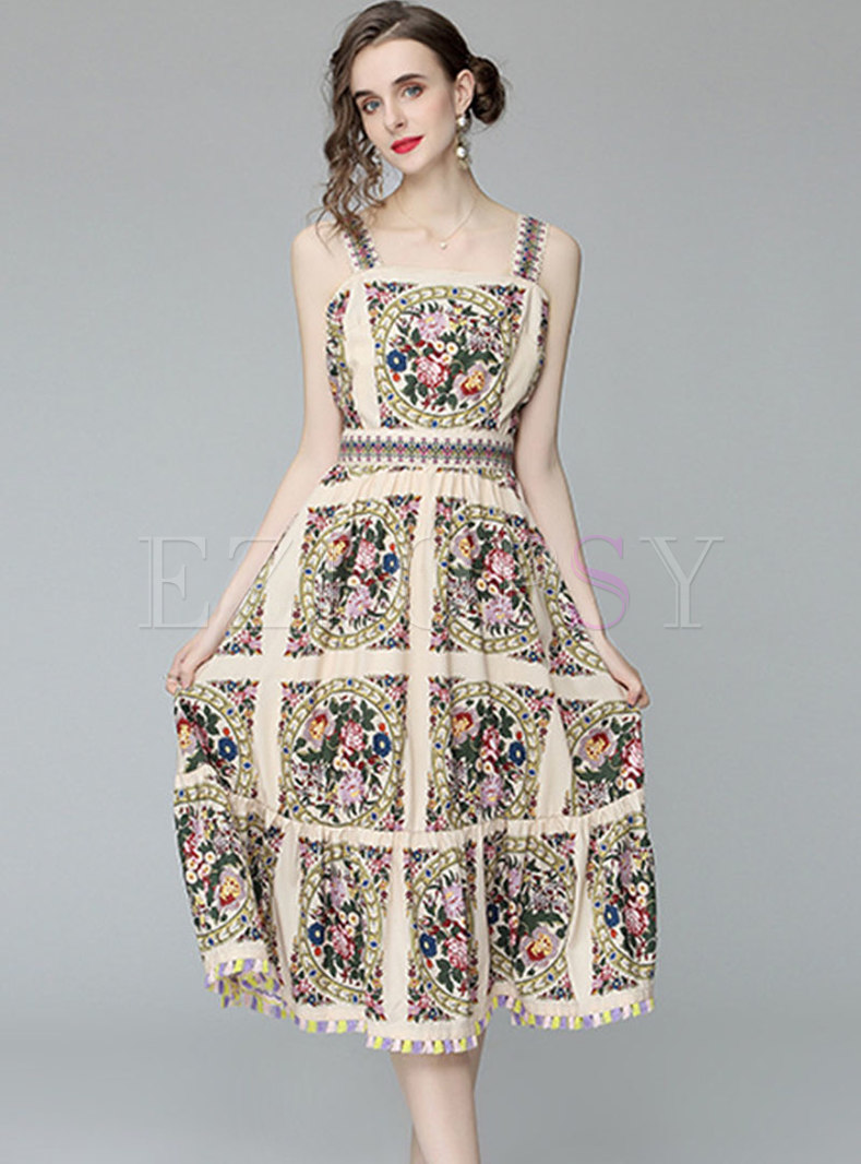 Floral A Line Big Hem Tassel Midi Dress