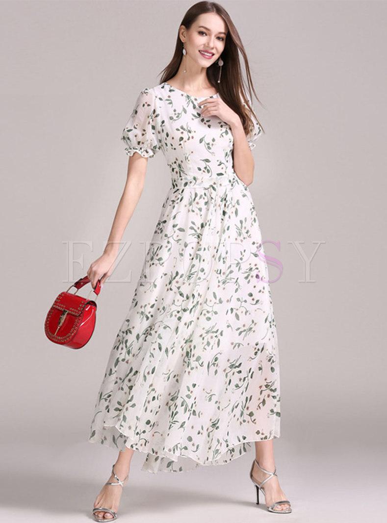 Boho Short Sleeve Print Big Hem Beach Maxi Dress