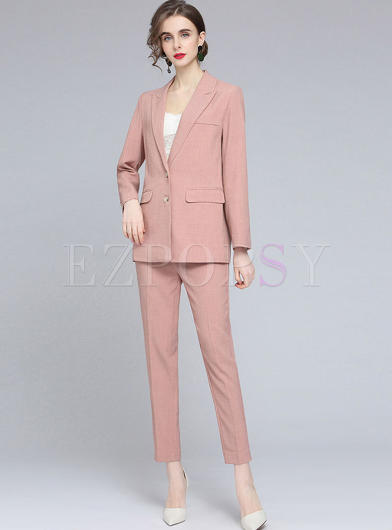 Brief Solid Lapel Flap Pocket Pencil Pant Suits