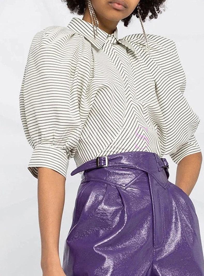 Turn-down Collar Striped Puff Sleeve Blouse