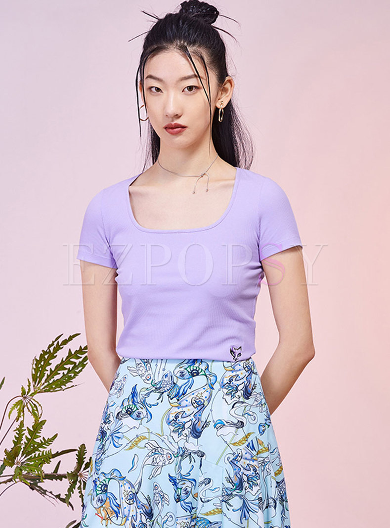 Square Neck Pullover Embroidered T-shirt