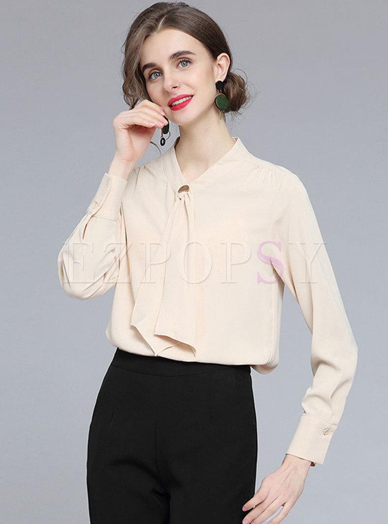 V-neck Brief Ribbon Pullover Chiffon Blouse