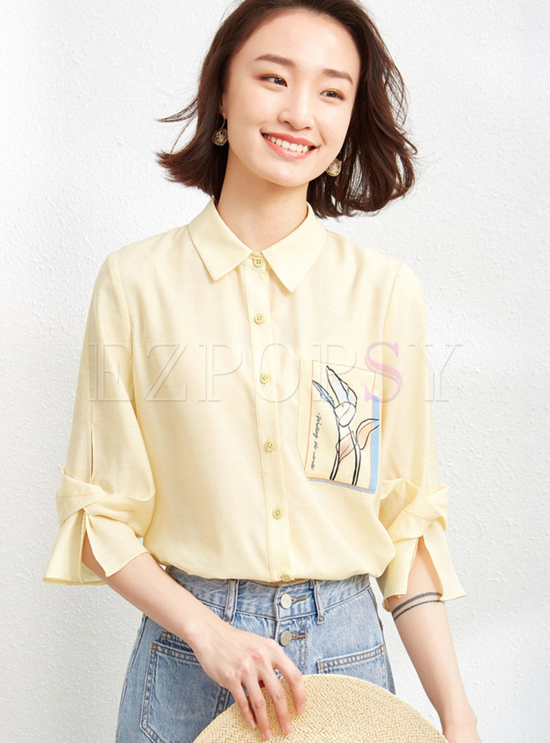 Casual 3/4 Sleeve Letter Print Blouse