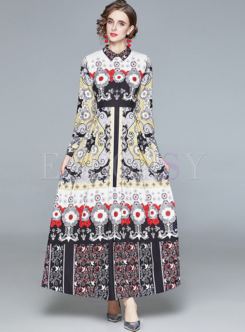 Turn-down Collar Long Sleeve Big Hem Maxi Dress