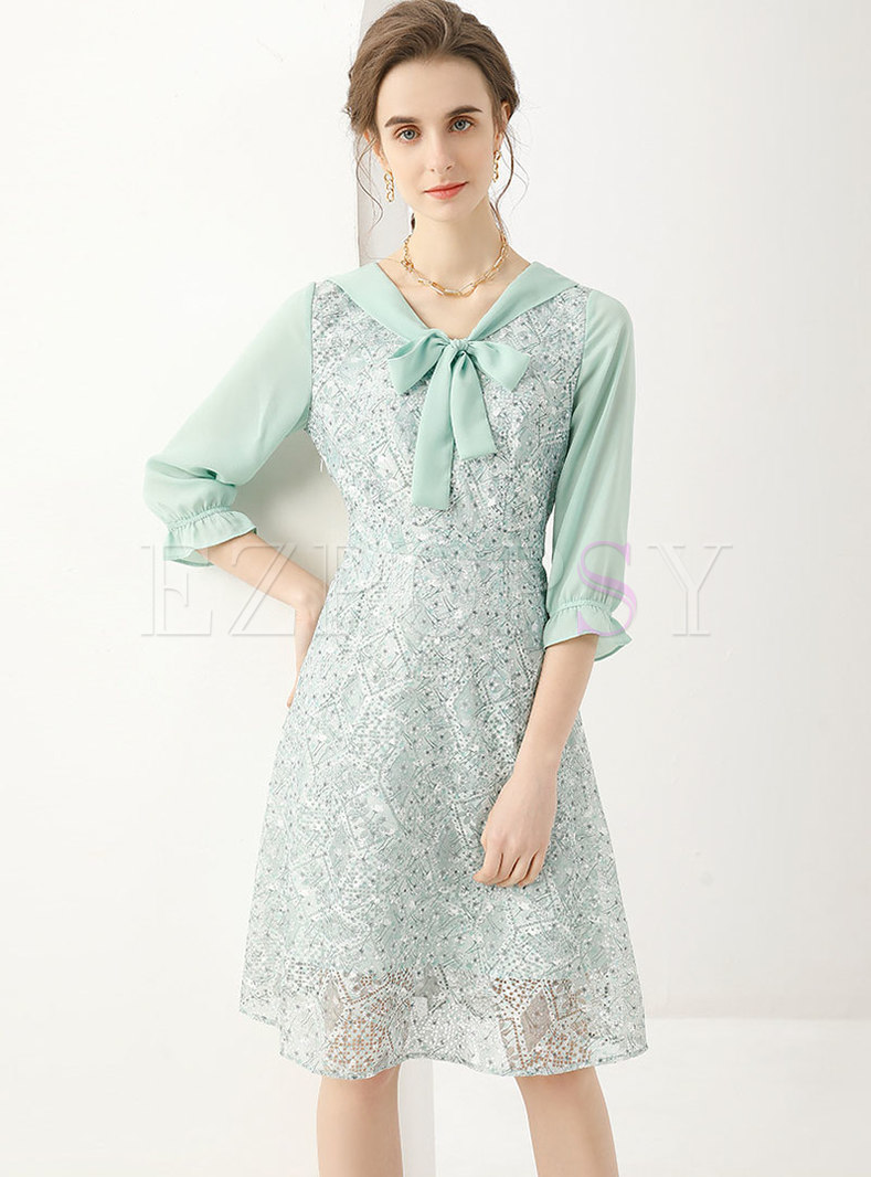3/4 Sleeve Bowknot Ribbon Lace Embroidered Dress