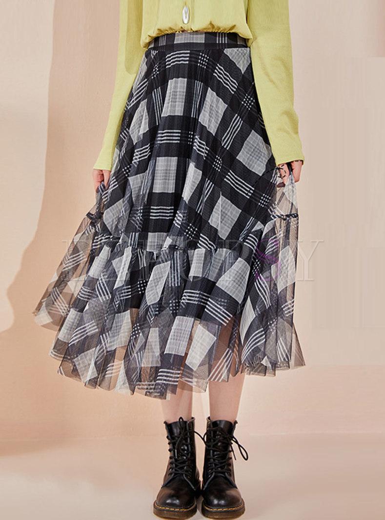 High Waisted Plaid Mesh A Line Maxi Skirt