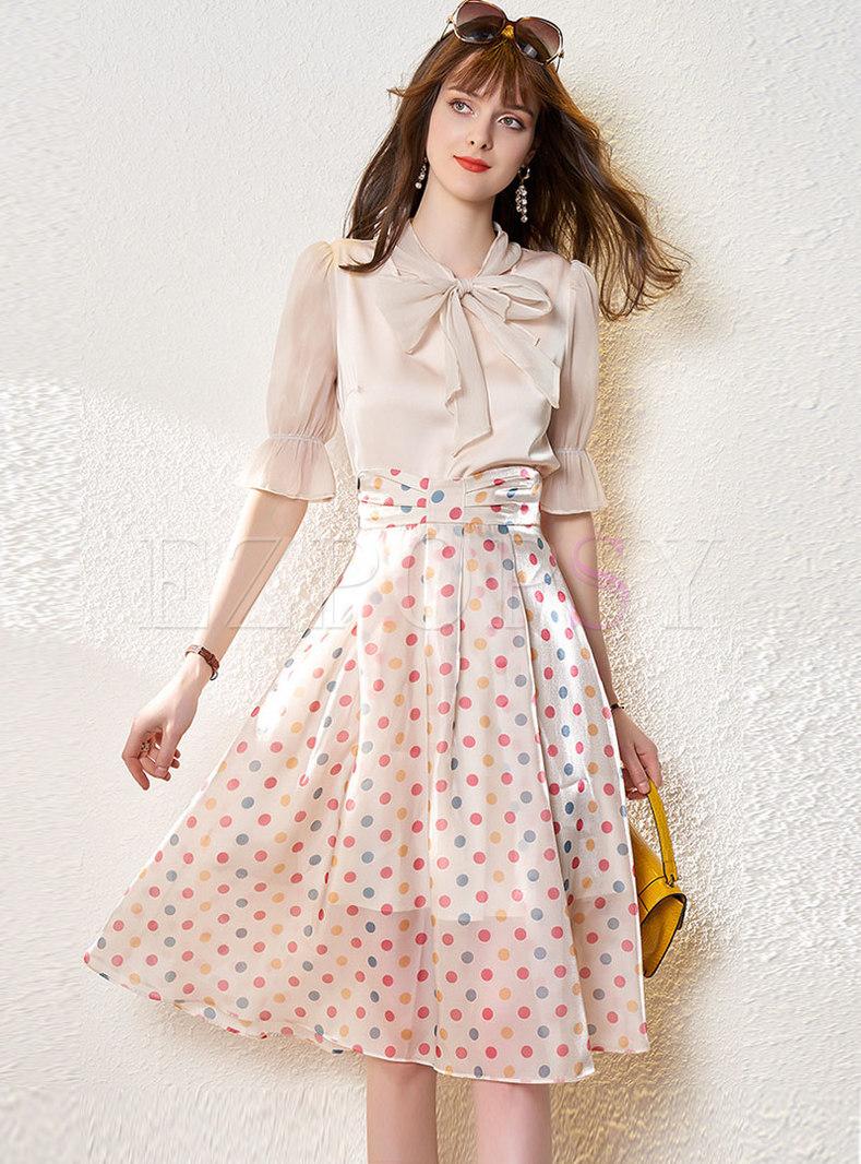 Half Sleeve Pullover Blouse & Polka Dot Maxi Skirt