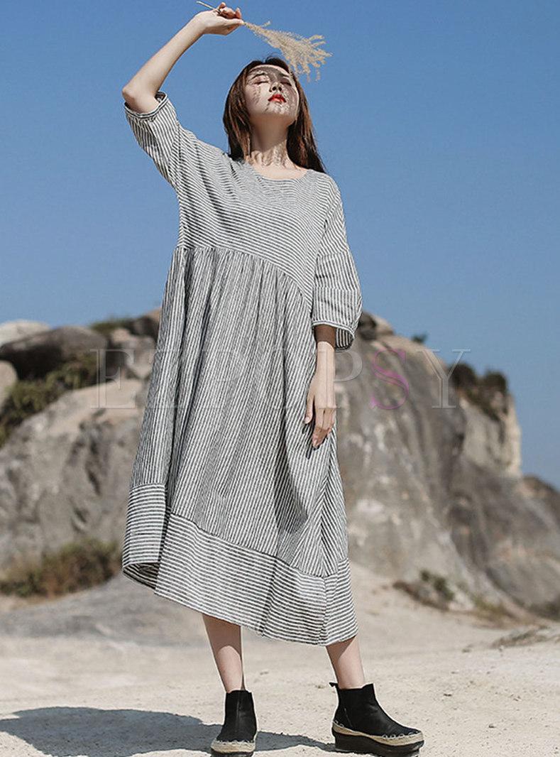 Retro 3/4 Sleeve Striped Big Hem Midi Dress