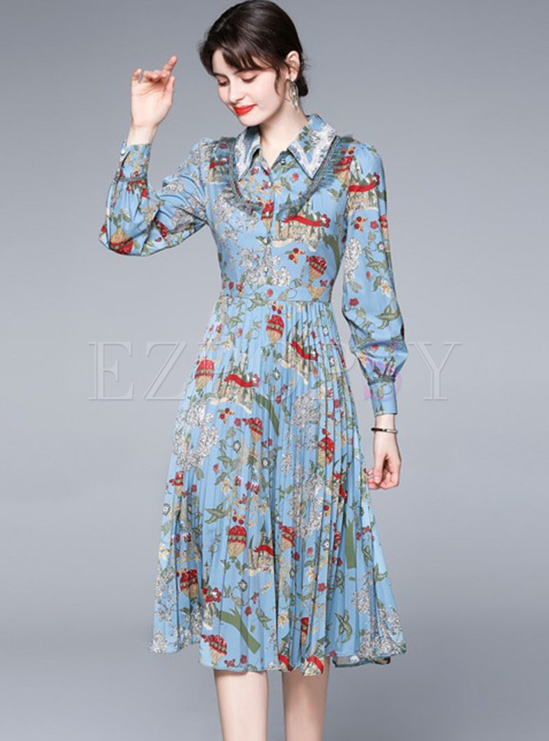 Long Sleeve Print Pleated Midi Dress