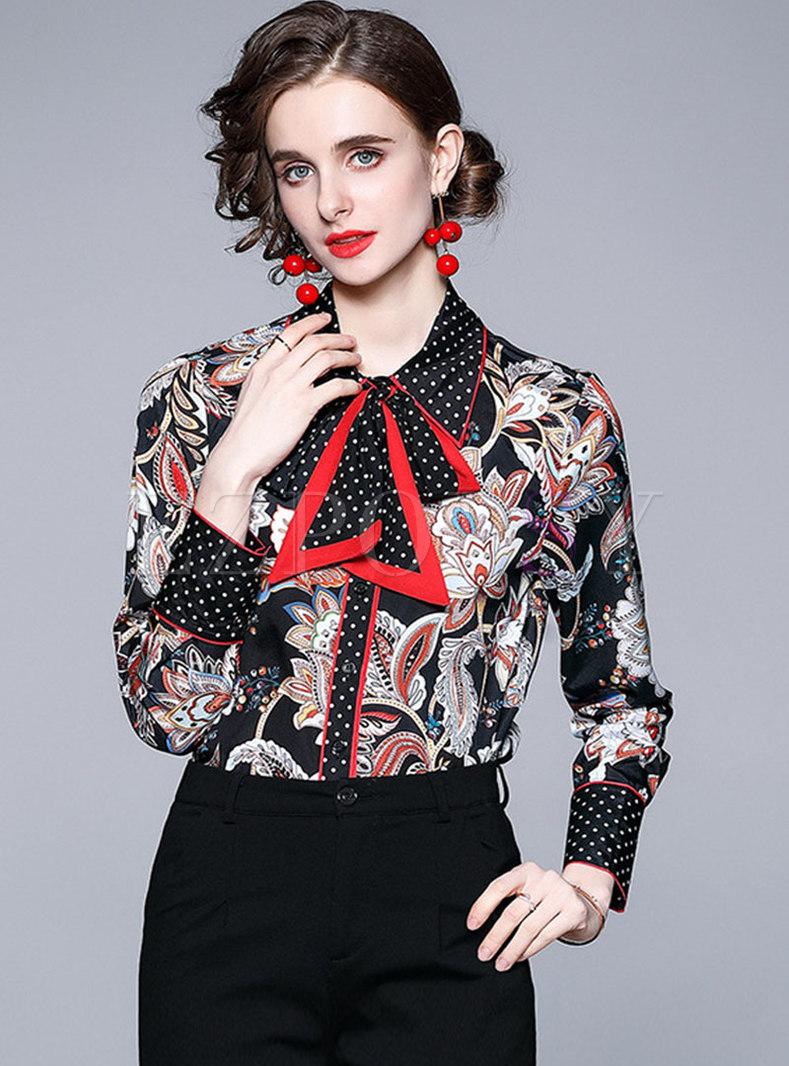 Black Polka Dot Turn-down Collar Print Blouse