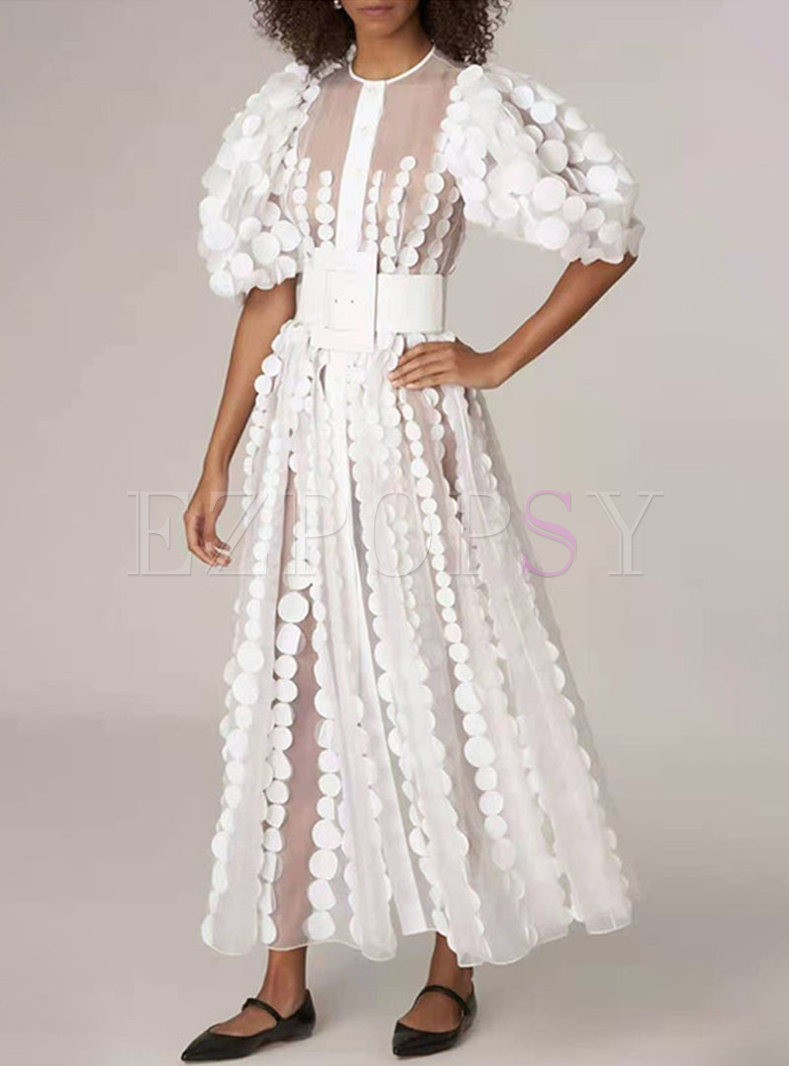 White Puff Sleeve Mesh Patchwork Party Dress