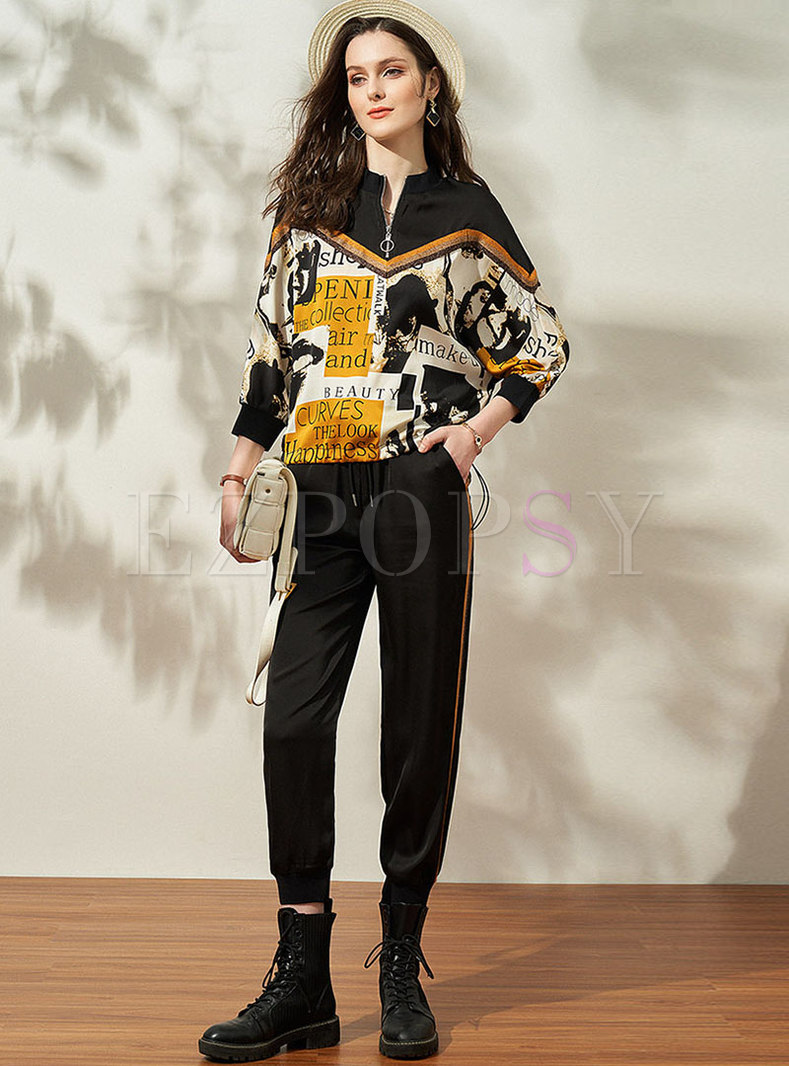 Mock Neck Print Pullover Blouse & High Waisted Joggers