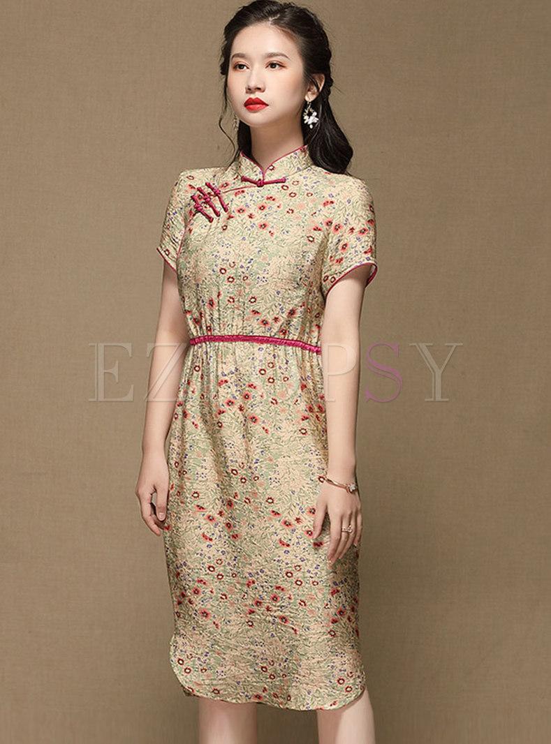 Retro Mandarin Collar Print Improved Cheongsam Dress