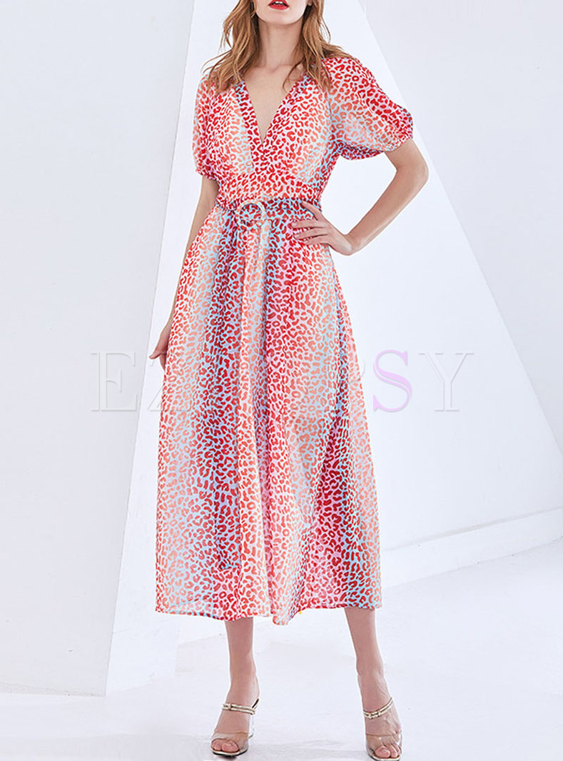 V-neck Puff Sleeve Leopard Beach Maxi Dress