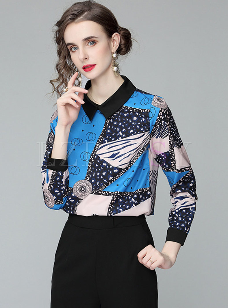 Turn-down Collar Pullover Print Blouse