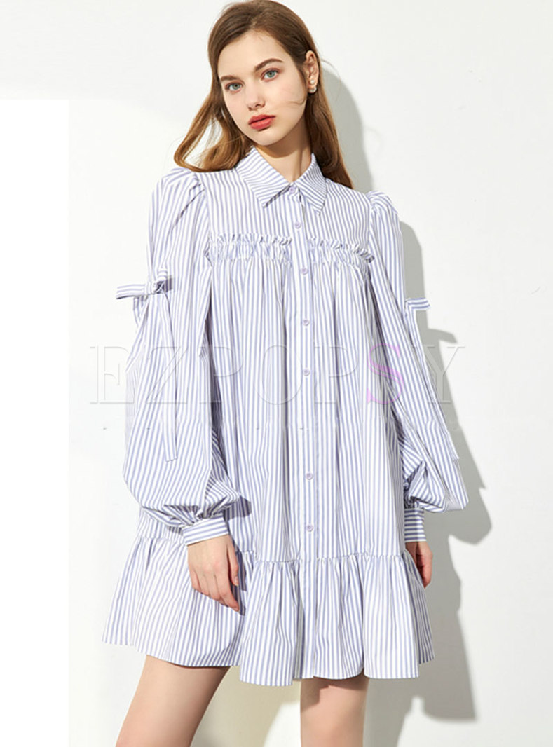 Turn-down Collar Striped Shift Mini Shirt Dress